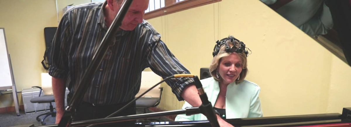 Renée Fleming with Prof. Richard Karpen at DXARTS Art+Brain Lab