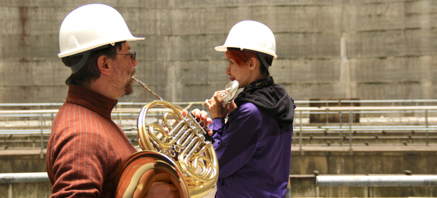 Recording at Satsop Nuclear Plant | Leanna Keith, flute | Josiah Boothby, horn
