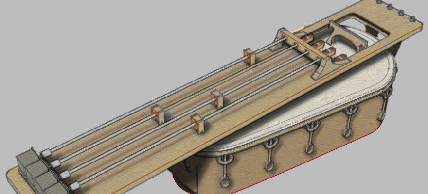 CAD rendition of Nandi, an automated electromagnetic stringed instrument