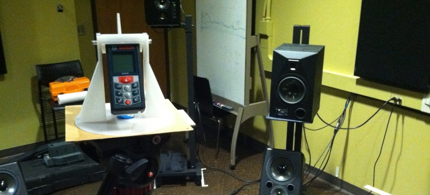 DXARS Sound Lab under construction: coincident laser measurement for distance calibration.