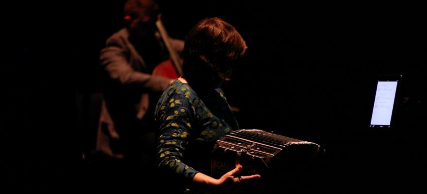 The performance of Juan Pampin's Respiración Artificial, featuring ultrasonic sound beams.