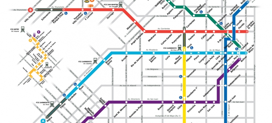 A Line: Buenos Aires subway network, line A is light blue