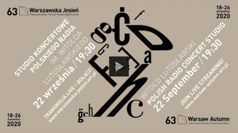 YouTube link to Warsaw Autumn Festival, Sept.22, 2020 -