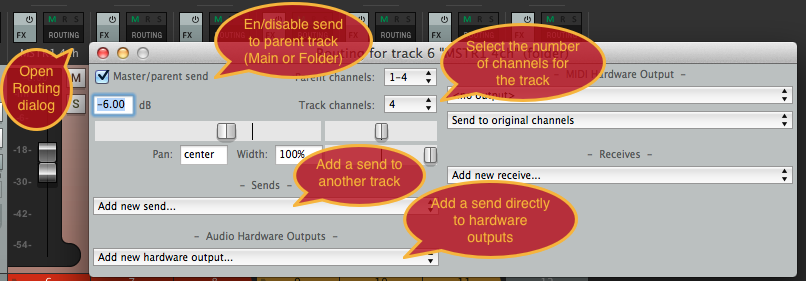 Track routing controls