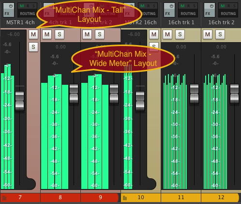 Two custom multi-channel meter styles