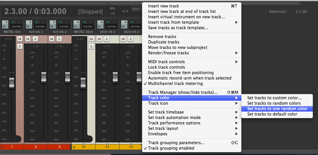 Select one or more tracks, right click to colorize